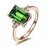 Moda Piedra preciosa Verde Turmalina Esmeralda 14K Oro rosa Compromiso...