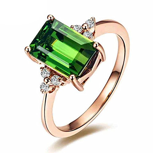 Moda Piedra preciosa Verde Turmalina Esmeralda 14K Oro rosa Compromiso Mujer