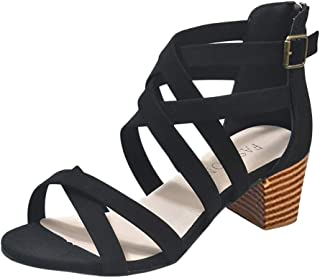 Women Sandals, LONGDAY 🌿 Block Heel Platfrom Shoes Criss Cross Casual Gladiator Flat Hollow Slip On Ankle Strap