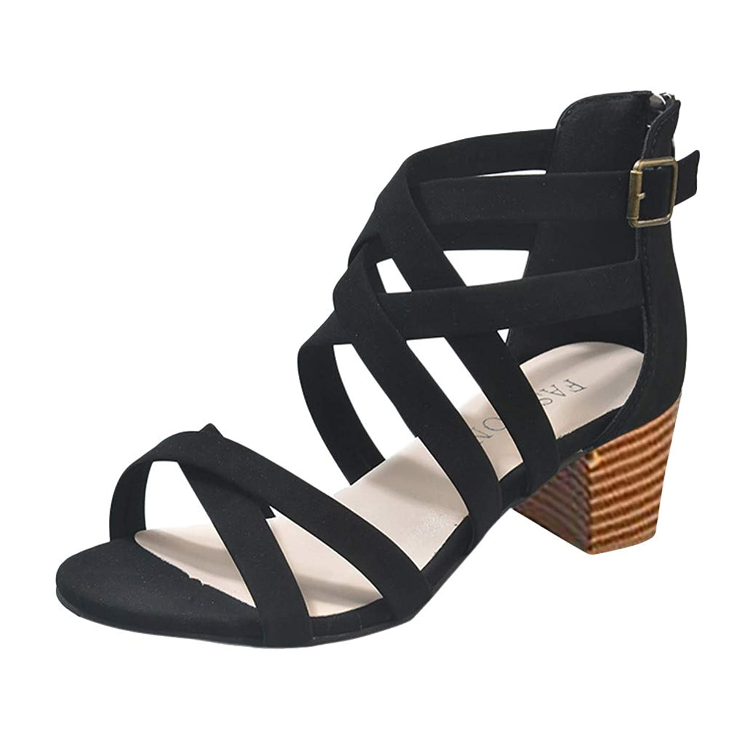 Women Sandals, LONGDAY ?? Block Heel Platfrom Shoes Criss Cross Casual Gladiator Flat Hollow Slip On Ankle Strap