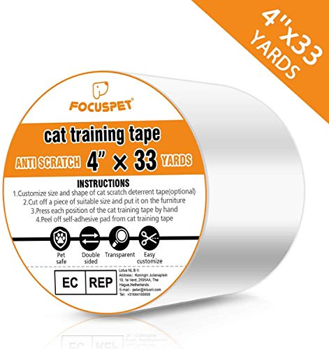 FOCUSPET Cat Scratch Deterrent Tape 4' x 33 Yards (33% Wider) Furniture Protectors from Cats | Cat Training Tape Scratch Pad Double-Sided Furniture Protectors for Sofa, Couch, Door