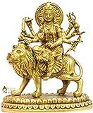 "StatueStudio Antique Brass India Hand Made Hindu Goddess Religious Durga Statue Figure 10"""