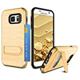 Galaxy S7 Case, Galaxy S7 Card Holder Case, Zectoo Heavy Duty Anti Scratch Dual Layer Metal Satin with Kickstand Bumper Protection Wallet Cover Card Holder Case for Galaxy S7 S VII G930 GS7 - Gold
