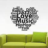 音楽語彙ビニール壁デカール音楽ヒップホップロックポップホームインテリアステッカー壁画寝室リビングルーム教室の装飾50X42Cm
