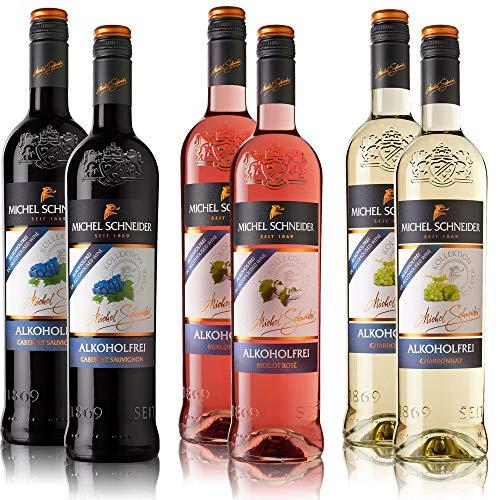 6 Flaschen Michel Schneider Rosé-, Weiß-, Rotwein Mischpaket (6 x 0,75 l), alkoholfreie Weine