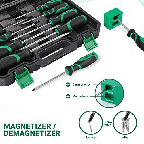 27PCS Magnetic Screwdriver Set with Magnetizer and Demagnetizer, METAKOO Screwdriver Set, Including Slotted/Phillips/Torx Precision Screwdriver and Case, Repair Tool Kit - MSS01H