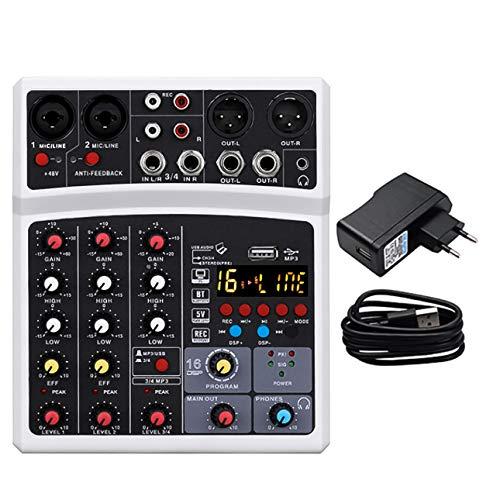 Mini mesa de mezclas de 4 canales, inalámbrica, con USB para PC, sintonizador digital, alimentación fantasma, 16 efectos digitales, color blanco