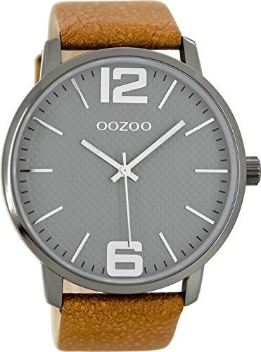 Oozoo Unisex Erwachsene Analog Quarz Uhr mit Leder Armband C8502