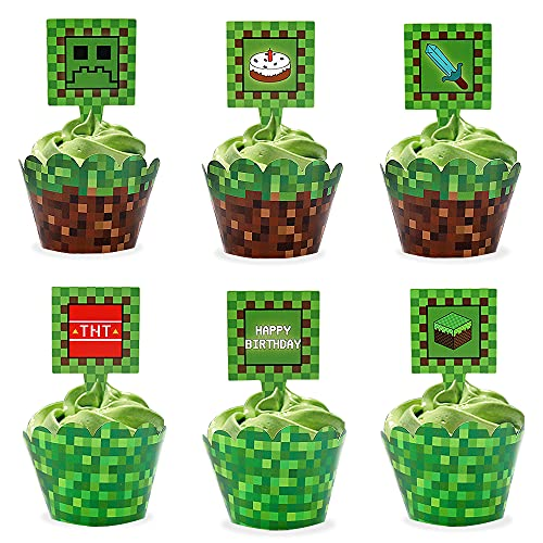 24 Pcs Pixel Cupcake Toppers and Wrapper For Game Happy Birthday Party...