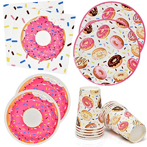 Donuts Party Supplies Tableware Set 24 9 Dinner Plates 24 7 Plate 24 9 Oz. Cups 50 Lunch Napkins Doughnut Sprinkles Themed Disposable Paper Goods for Girls & Boys Baby Shower & Birthday Party Decor