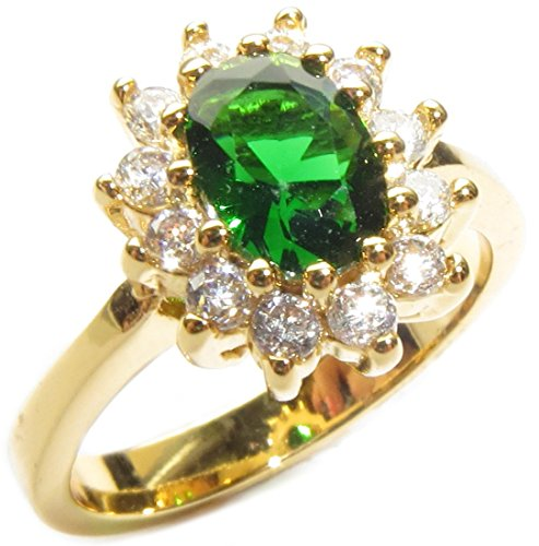 AH! JEWELLERY. 12 BEAUTIFUL BRILLIANT ROUND FINEST LAB DIAMONDS SURROUNDING A STUNNING OVAL EMERALD. 24CT GOLD ELECTROPLATED. AN ENCHANTING FASHION RING.