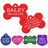 GoTags Pet ID Personalized Pet Tags for Dogs and Cats. Front & Backside Engraving and Sizes. Anodized Aluminum. Bone Shape Regular.