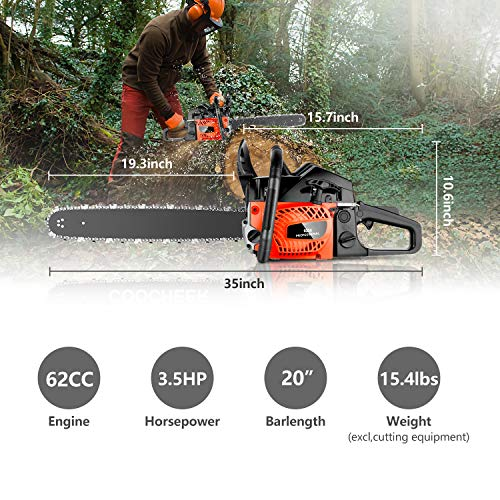 62CC 20_Inch Gas Chainsaws, 3.5HP Guide Board Chainsaw Gasoline Powered Handheld Cordless Petrol Gasoline Chain Saw Chainsaw for Farm, Garden and Ranch (Red Black)