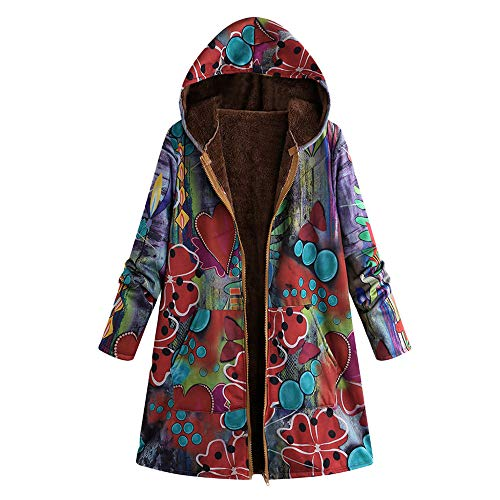 TOPKEAL Jacke Warme Mantel Damen Herbst Winter Sweatshirt Blumendruck mit Kapuze Kapuzenjacke Hoodie Taschen Pullover Übergroße Outwear Coats Mode Tops …