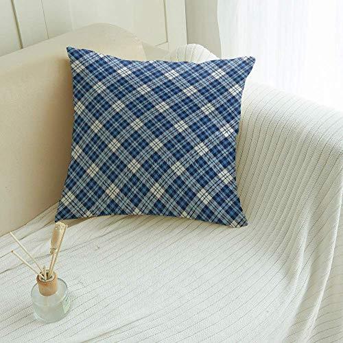 Fundas de Almohada Decorativas a Cuadros de búfalo, Funda de Almohada de Lona Decorativa Cuadrada, sofá para el hogar, diseño de Cuadros Azul y Blanco Decorativo, cuadrícula de geometría nórdica