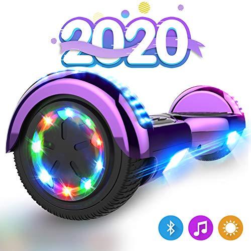 GeekMe Hoverboards, Patinete Eléctrico de Equilibrio Automático, Scooter Hover Eléctrico Board, Balance Board 6.5 Pulgadas con Altavoz Bluetooth, LED Luces, Regalo para Niño, Adolescente y Adulto