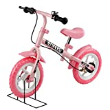ENKEEO No Pedal Balance Bike 12 inch Cycling Walking Bicycle with Bell and Hand Brake for Ages 2 to 6 Years Old, Adjustable Handlebar and Seat, 110lbs Capacity, Pink