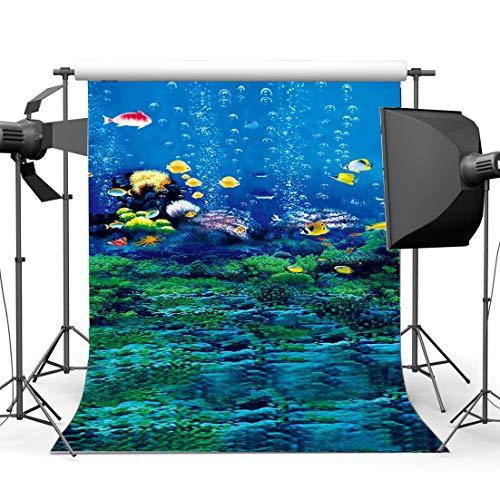 DLQX Unterwasserwelt Hintergrund Fisch Blase Grünes Gras Korallen Aquarium Romantische Tapete Fotografie Hintergrund Für Kinder Erwachsene