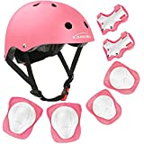 KAMUGO Kids Bike Helmet, Toddler Helmet for Ages 3-8 Boys Girls with Sports Protective Gear Set Knee Elbow Wrist Pads for Skateboard Cycling Scooter Rollerblading, CPSC Certified (Pink)
