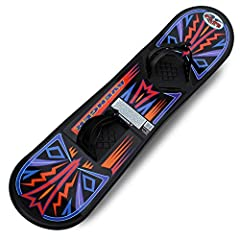 KIDS BEGINNER SNOWBOARD - Flexible Flyer plastic snowboard that's perfect for entry-level snowboarding in your backyard or local sledding hill BINDING STRAPS - Pre-mounted kids snowboard binding straps accommodate snow boots; adjustable ratchet syste...