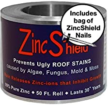 "ZincShield Pure Zinc Strip to Avoid Ugly Roof Stains from Moss, Algae, Fungus, and Mildew, 50 Foot Roll (2.5"") - Includes ..."