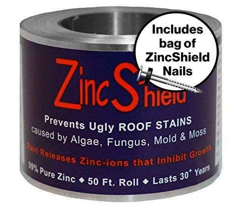 ZincShield Pure Zinc Strip to Avoid Ugly Roof Stains from Moss, Algae, Fungus, and Mildew, 50 Foot Roll (2.5') - Includes Bag of ZincShield Nails - Made in The USA