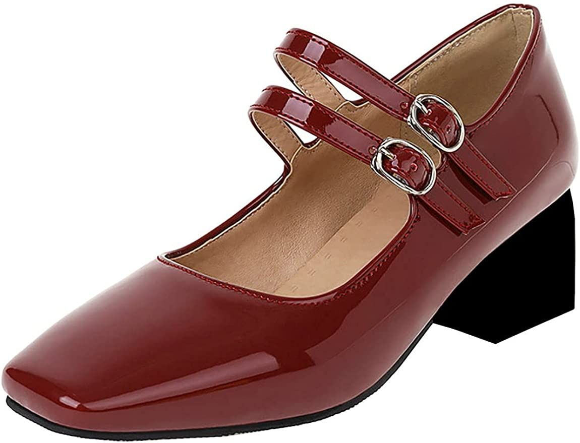 Juleya Womens Mary Janes Limited time sale Chunky Patent Squar Leather Pumps Heels Cheap mail order shopping