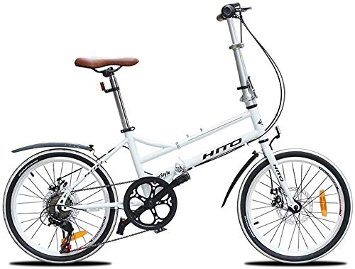 Lowest Price! Adults Folding Bikes, 20 Inch 6 Speed Disc Brake Foldable Bicycle, Lightweight Portabl...