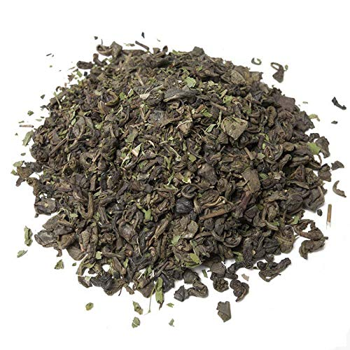 Aromas de Té - Té Verde Moruno China Gunpowder Sabor a Hierbabuena con Pipermint y Aroma Natural de Menta a Granel, 100 gr