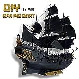 TOSUAI Rompecabezas 3D 1:35 Barco Pirata 45.2'Modelo De Embarcación Difícil, Modelo De Velero De Madera De Perla Negra, Kit Hecho A Mano, Ensamblaje De Manualidades, Kits De Construcción De Barcos