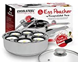 ExcelSteel Non Stick Easy Use Rust Resistant Home Kitchen Breakfast Brunch Induction Cooktop Egg Poacher, 6 Cup, Stainless Steel