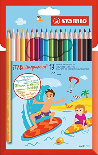 STABILO aquacolor matita colorata acquarellabile colori assortiti - Confezione da 18