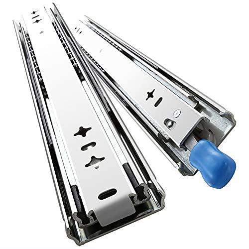 ZBYL Extensión Completa Plateada, Guías para cajones con rodamiento de Bolas de Metal, con Cerradura, Capacidad de Carga de 120 kg, Plateado, 10 '' / 60 '', 1 par