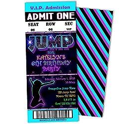 Neon Boy JUMP VIP Pass Lanyard Birthday Invitation Trampoline Park