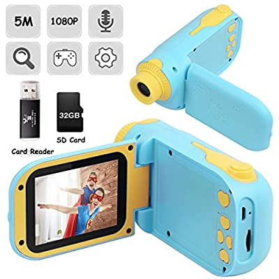 Kids Camera, Video Camera Camcorder for Kids Gifts, 1080P HD DV Digital Video Camera with 2.4inch Screen, 12MP Kids Camera for Children Boys & Girls 3-10 Year Old with 32G SD Card, SD Card Reader from SNAHIKE