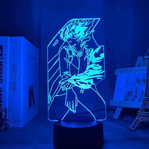 Anime My Hero Academy Luz de noche 3D LED Symphony Light 7 Color Gradient Touch Control remoto Lámpara de escritorio Decoración para dormir para bebés Amigos Juguete creativo Regalo