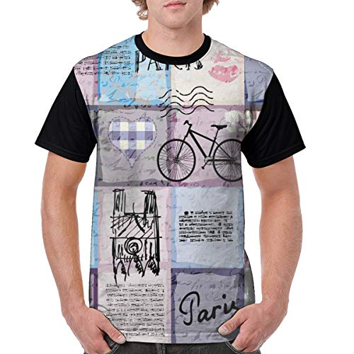 Man's T Shirts,Grunge Textured Retro Collage of Paris with Famous Object Eiffel Tower Europe Theme L