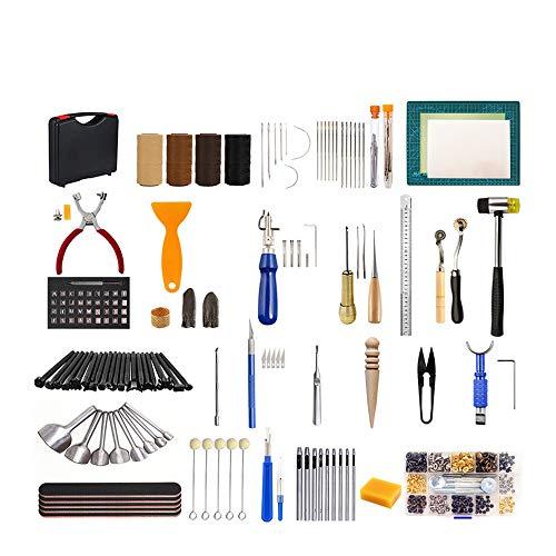 Puzzle Kits de Repujado de Cuero Pin Hebilla Remache Coser Kit De Artesanía De Cuero Kit De Herramientas De Trabajo De Cuero Martillo De Estera De Corte