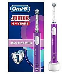 Oral-B Junior Elektrische Zahnbürste für Kinder ab 6 Jahren, mit weichen Borsten & Timer, 1 Putzprogramm, lila