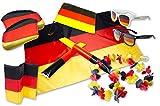 Deutschland Fan Set 8-Teilig - WM EM Set - 2 x Sonnenbrille, Flagge, Laola-Kette, Auto Fahne, Spiegelfahne, Sitzlissen, Klopfschlauch