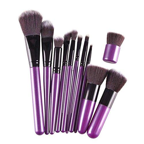 WOZOW Maquillage Cosmétiques Pinceaux 11pcs de Maquillage (Noir)
