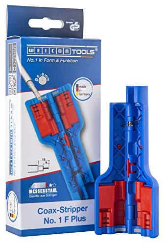 WEICON TOOLS Coax-Stripper No. 1 F Plus für F-Schraubstecker | Abisolierwerkzeug für Koaxialkabel, Antennenkabel u.v.m.