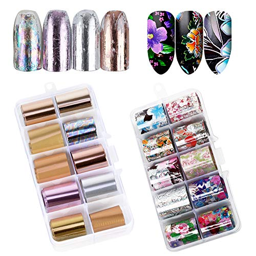 VINFUTUR 20 Rollen Nagel Transferfolie, Nailart Transferfolie Nagelsticker Aufkleber Nagelfolie Transfer Sticker Nail Wraps Nagel Decals Nagelschmuck Nagel Kunst Tattoos
