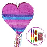 Homevibes Heart Shaped Pinata - Cartoon Shaped Pinatas Kids Birthday Party Supplies for Comic Themed Party   Wedding Pinatas for Lovers with 2 Eyemasks and 2 Sticks and 1 Bag of Confetti