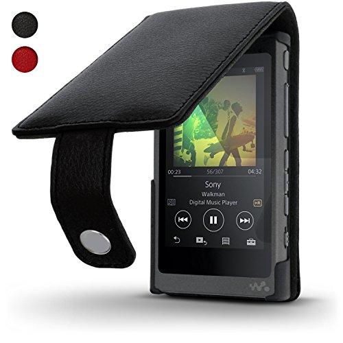 igadgitz Schwarz Leder Flip Tasche Schutzhülle für Sony Walkman NW-A35 NW-A40 NW-A45 MP3-Player Etui Case Cover mit Magnetverschluss + Bildschirmschutzfolie