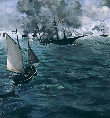 Das Museum Outlet–Manet–Die Schlacht an der Kearsarge und dem Alabama–Poster Print Online kaufen (152,4x 203,2cm)