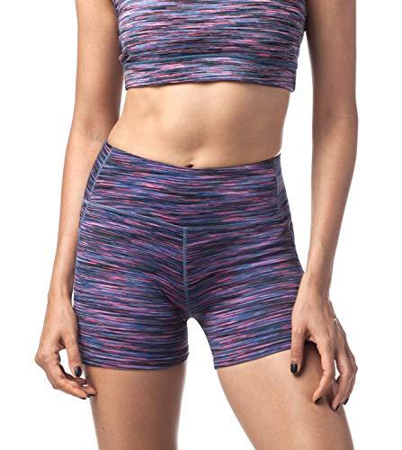 LAPASA Pantalón Corto Deportivo para Mujer Cintura Alta (Running, Fitness, Estiramiento) L09 (Deep Space Black, S)