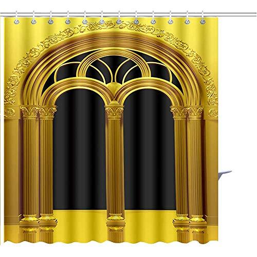 Cortina De Ducha Los Arcos Neo Románicos Se Pueden Usar como Fondo De Encuadre En Primer Plano O Tela De Poliéster De Impresión Gráfica Envolvente De Texto con 12 Ganchos,48X72 Inch/H183 X W122 Cm