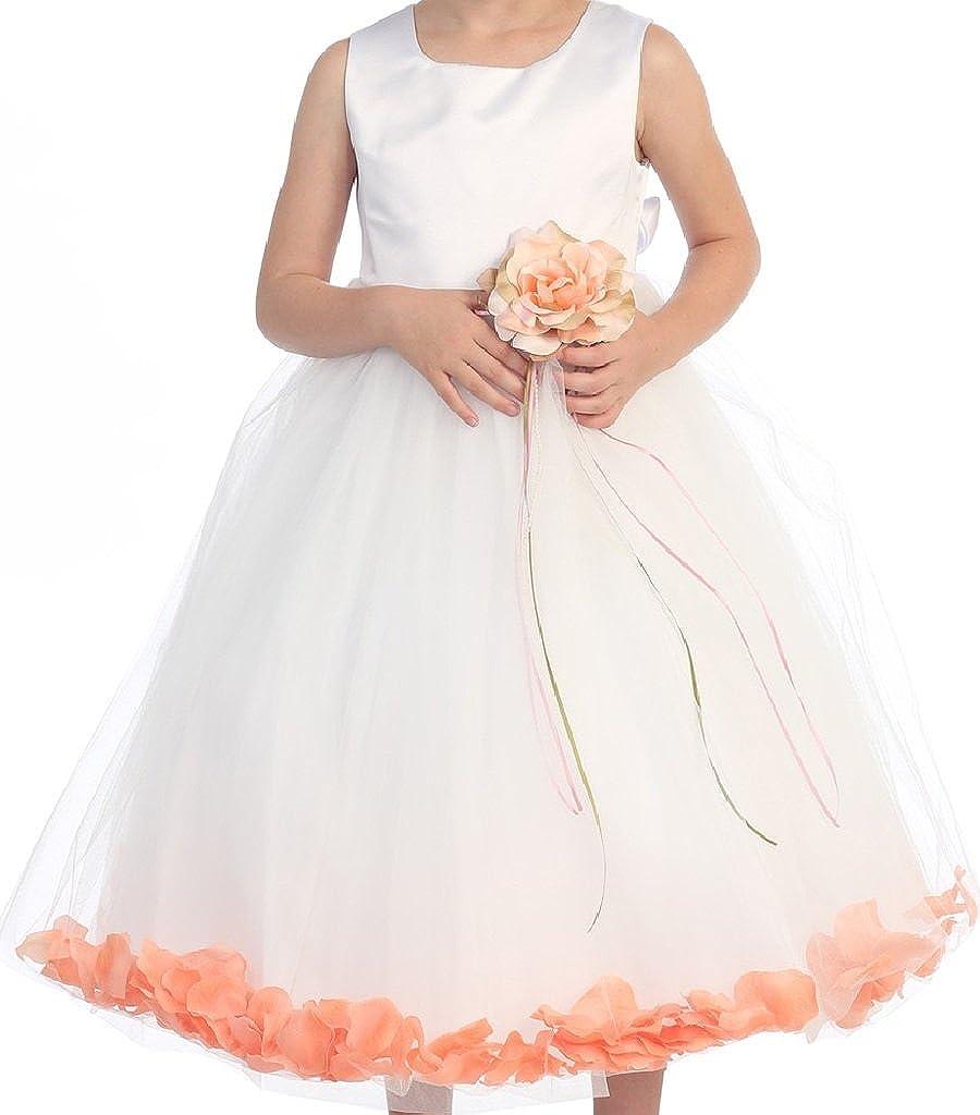 BluNight Collection Wedding Pageant Satin Flower Petal Little Flower Girls Dresses
