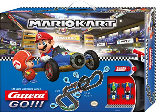 Carrera Toys GO!!! Mario Kart Mach 8 Set Pista da Corsa e Due Macchinine con Mario e Luigi, Gioco Adatto per Bambini dai 6 Anni, Multicolore, 20062492